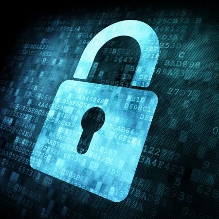 Concept de sécurité: verrouillage sur l'écran numérique, le contraste, rendu 3d Banque d'images