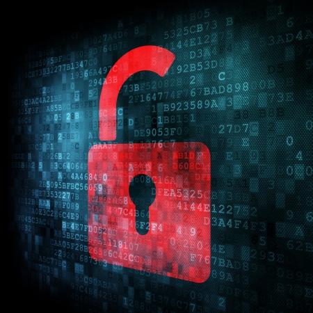 Security concept: Lock on digital screen, contrast, 3d render Stock Photo - 13931455