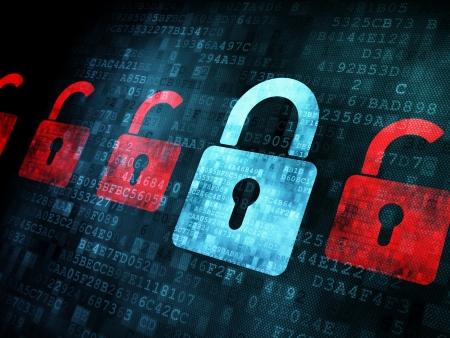 Sicherheitskonzept: Lock auf digitalen Bildschirm, Kontrast, 3d render