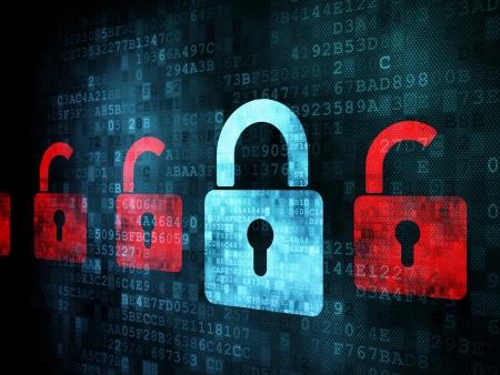 hacking: Concetto di sicurezza: Blocco sullo schermo digitale, invece, render 3d
