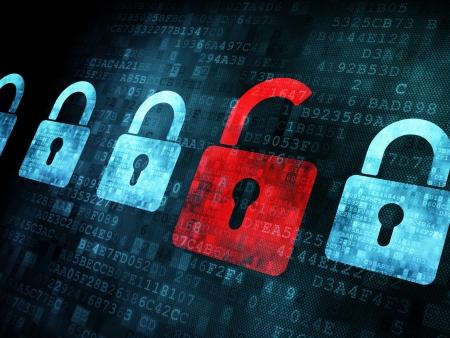 hacking: Concetto di sicurezza: Blocco su schermo digitale, il contrasto, rendering 3d Archivio Fotografico