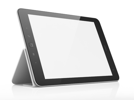 Black abstract tablet pc on white background, 3d render photo