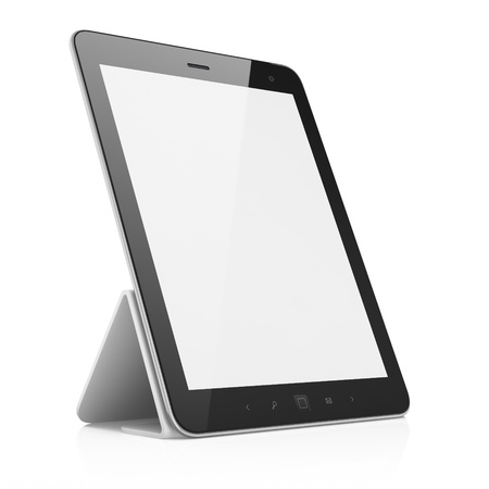 Black abstract tablet pc on white background, 3d render Stock Photo - 14080936