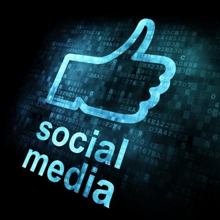 Like and words Social media on digital background on digital screen, 3d render Stock Photo - 14081004