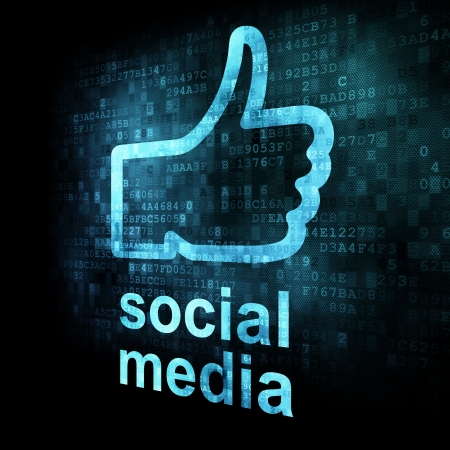 Like and words Social media on digital background on digital screen, 3d render Stock Photo - 14081002