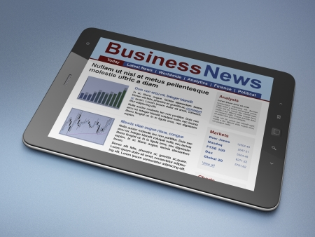 Digital news on tablet computer screen, 3d render photo