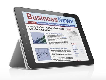 tabloid: Digital news on tablet computer screen, 3d render