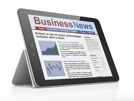 Noticias digital en la pantalla de la computadora tablet, 3d