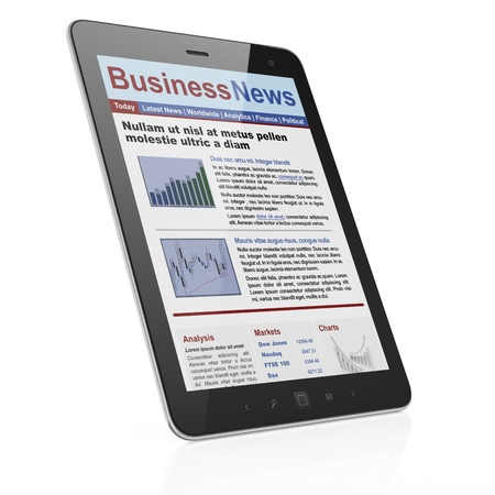 Digital news on tablet computer screen, 3d render Stock Photo - 14080982