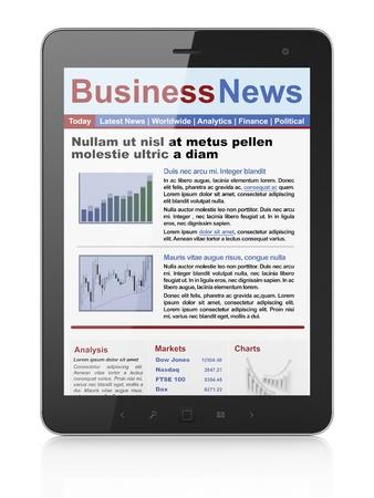 newsprint: Digital news on tablet computer screen, 3d render