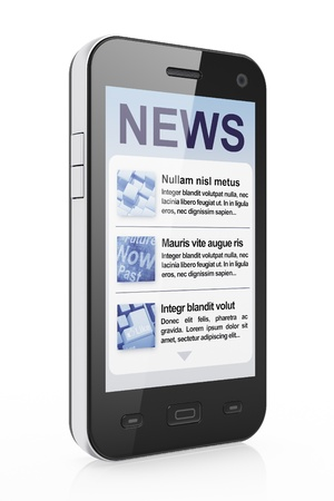 tabloid: Digital news on smartphone screen, 3d render Stock Photo