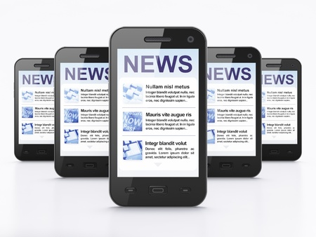 Digital news on smartphone screen, 3d render photo