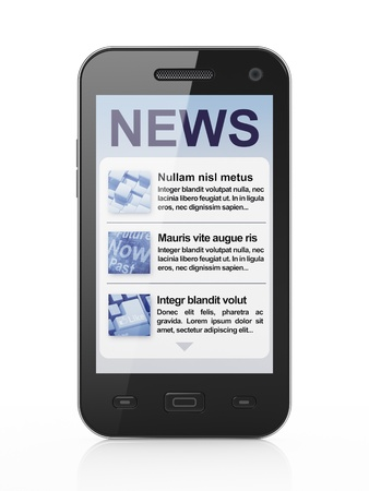 Digital news on smartphone screen, 3d render Stock Photo - 14080949