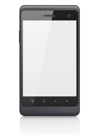 Beautiful smartphone on white background  Generic mobile smart phone, 3d render Stock Photo - 14080930