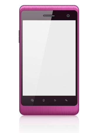 Tel�fono inteligente hermosa en fondo blanco gen�rico tel�fono m�vil inteligente, 3d