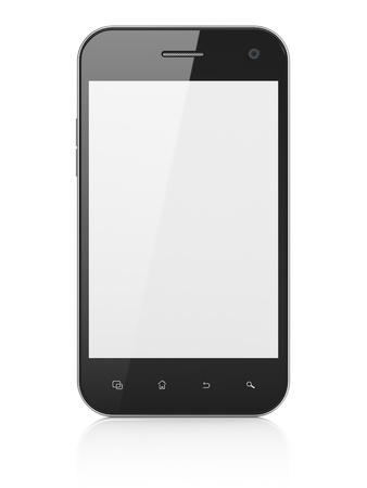 Beautiful smartphone on white background  Generic mobile smart phone, 3d render Stock Photo - 14080929