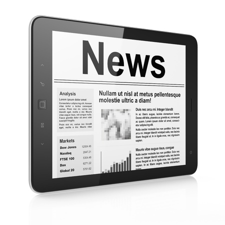 Digital news on tablet pc computer screen, 3d render Stock Photo - 14080980