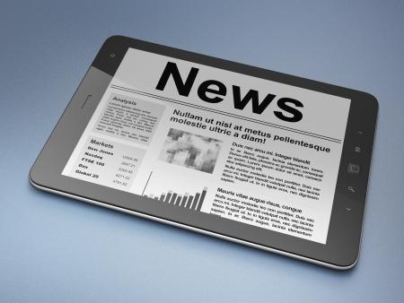 newsprint: Digital news on tablet pc computer screen, 3d render