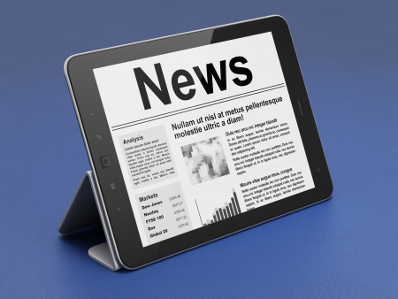 Digital news on tablet pc computer screen, 3d render photo