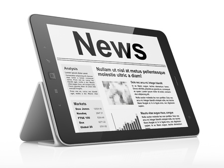 newsletter icon: Digital news on tablet pc computer screen, 3d render