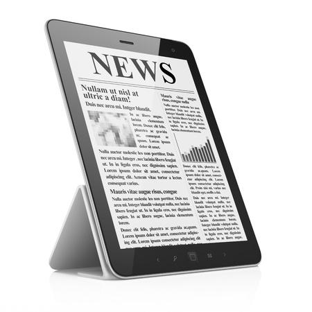 Digital news on tablet pc computer screen, 3d render photo