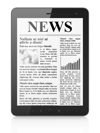 Digital news on tablet pc computer screen, 3d render Stock Photo - 14080987