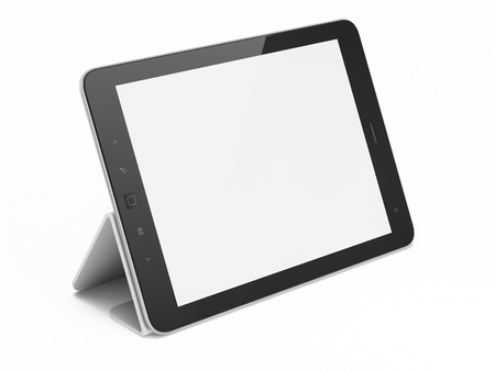 Black abstract tablet computer  pc  on white background, 3d render photo