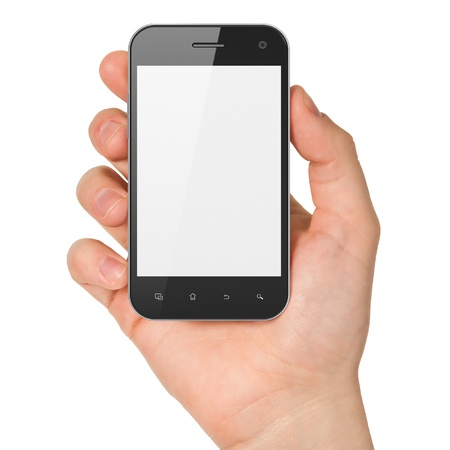 Hand holding smartphone on white background  Generic mobile smart phone, 3d render photo