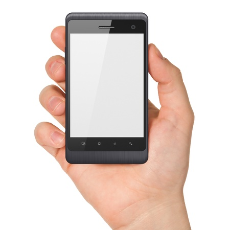 dialing: Hand holding smartphone on white background  Generic mobile smart phone, 3d render