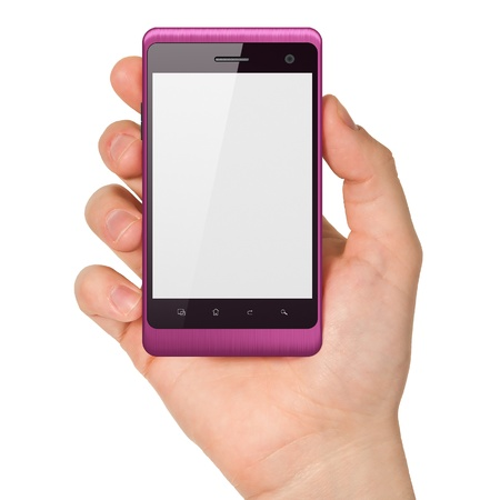 Hand holding smartphone on white background  Generic mobile smart phone, 3d render Stock Photo - 14080951