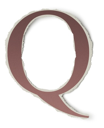 Numbers and letters collection, vintage alphabet based on newspaper cutouts. Letter Q on torn paper, 3d render