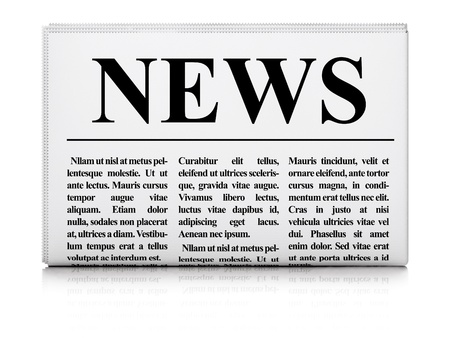 Newspaper on white background, 3d render photo