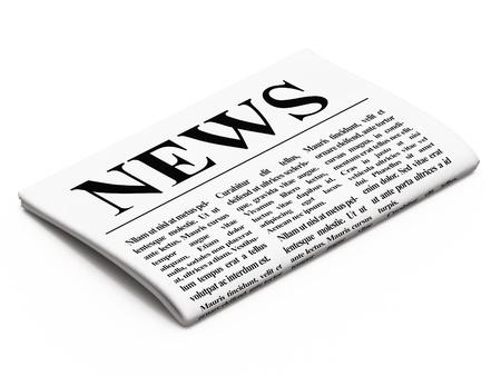 Newspaper on white background, 3d render photo