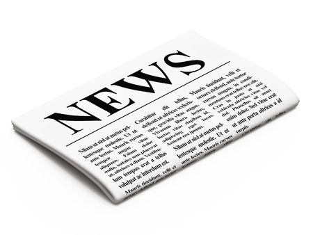 Newspaper on white background, 3d render Stock Photo
