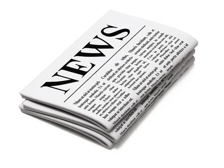 흰색 배경에 신문, 3d 렌더링