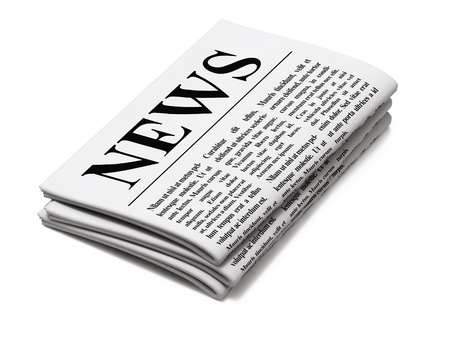 article writing: Newspaper on white background, 3d render Stock Photo