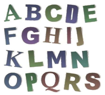 g p: Numbers and letters collection, vintage alphabet based on newspaper cutouts  Set A, B, C, D, E, F, G, H, I, J, K, L, M, N, O, P, Q, R, S on torn paper, 3d render