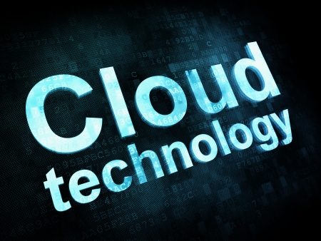 Information technology concept: pixelated words Cloud technology on digital screen photo