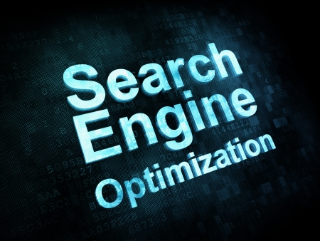 Information technology concept: pixelated words Search Engine Optimization, seo on digital screen photo