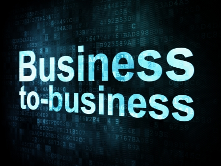 Business concept: pixelated words Business to business b2b on digital screen, 3d render photo