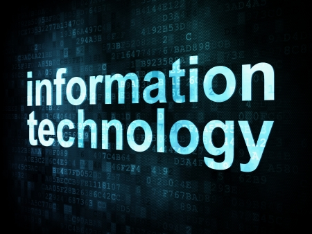 Information technology concept: pixelated words information technology on digital screen, 3d render Stock Photo - 14327794