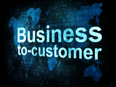 Business concept: pixelated words Business to customer b2c on digital screen, 3d render photo