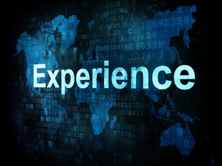 Life concepto de estilo: Experiencia palabras pixelado en la pantalla digital, 3d render