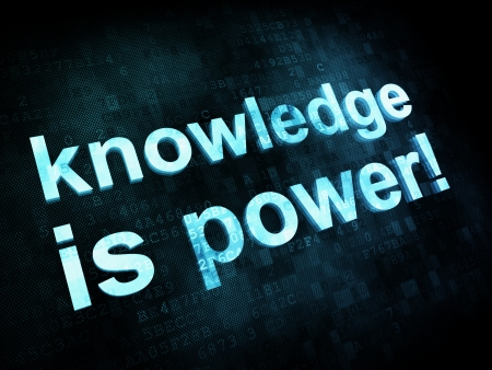 Education and learn concept: pixelated words knowledge is power on digital screen, 3d render Stock Photo - 14329871