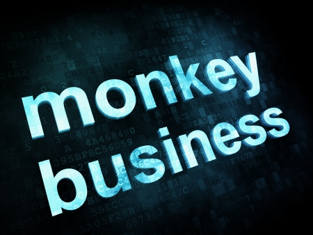 Job, work concept: pixelated words monkey business on digital screen Stock Photo - 14329864
