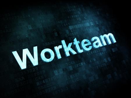 workteam: Job, work concept: pixelated words Workteam on digital screen, 3d render