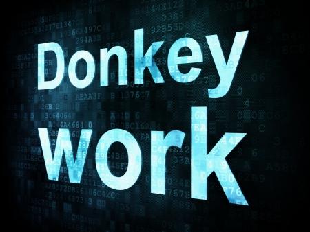 Job, work concept: pixelated words Donkey work on digital screen, 3d render Stock Photo - 14328837