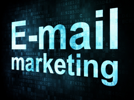 Concepto de marketing: el marketing pixelada Email palabras en la pantalla digital, 3d