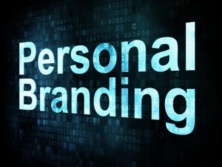 Concepto de marketing: las palabras pixelados Personal Branding en la pantalla digital, 3d