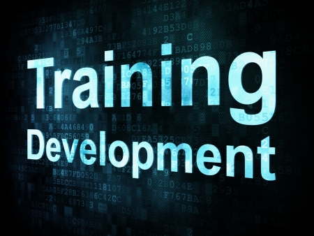 formacion empresarial: Concepto de educaci�n y aprender: Desarrollo pixelada Formaci�n palabras en la pantalla digital, 3d